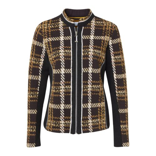 JUST WHITE Check Print Jacket And T-Shirt With Trim
