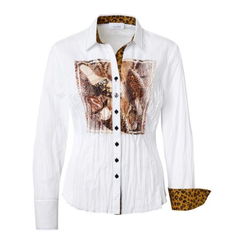 JUST WHITE Crinkle Shirt With Animal Print