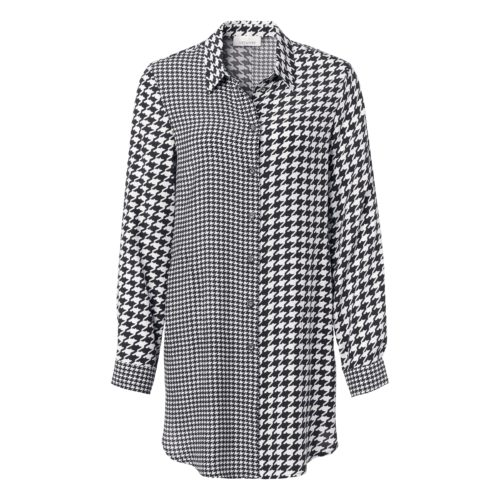 JUST WHITE Dogtooth Print Long Shirt