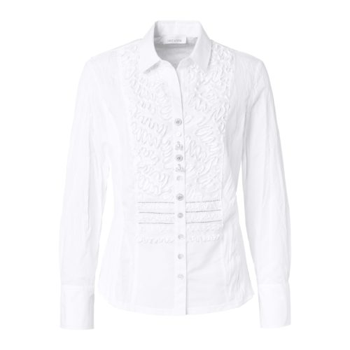 JUST WHITE Crinkle Shirt With Ribbon Applique
