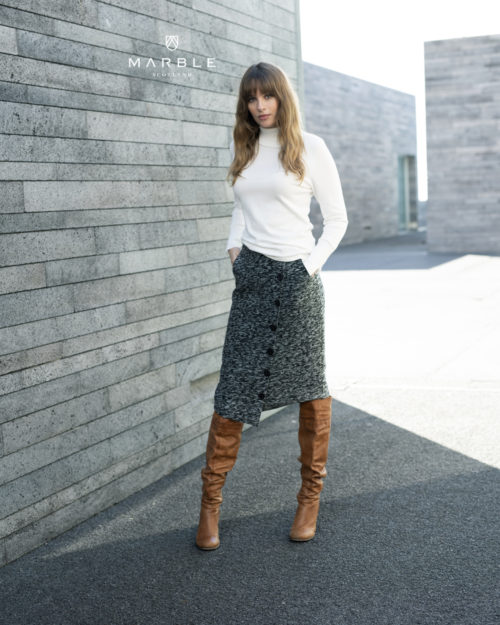 MARBLE Tweed Button Skirt