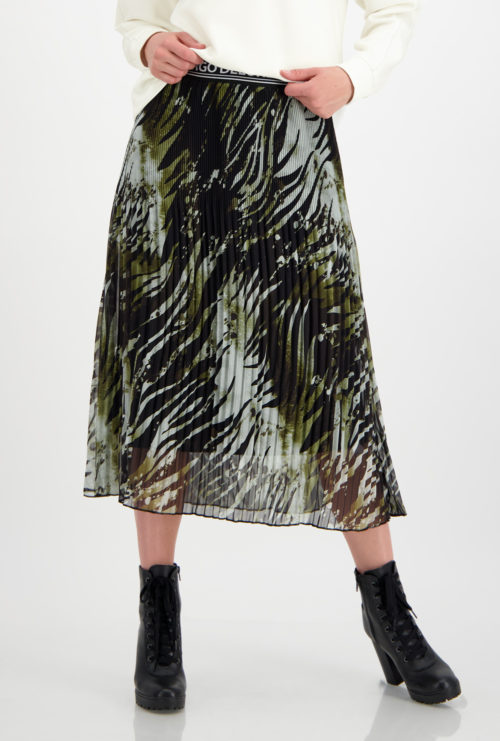 MONARI Black Print Pleat Skirt