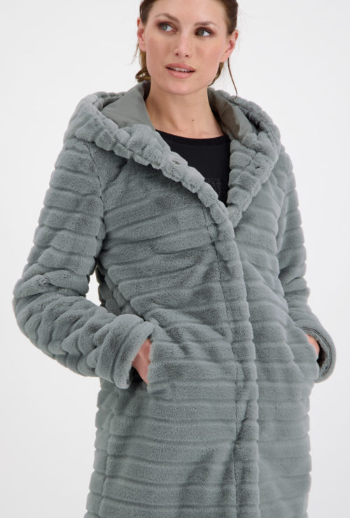 MONARI Grey Faux Fur Coat