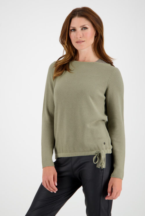 MONARI Khaki Cotton Knit With Sparkle