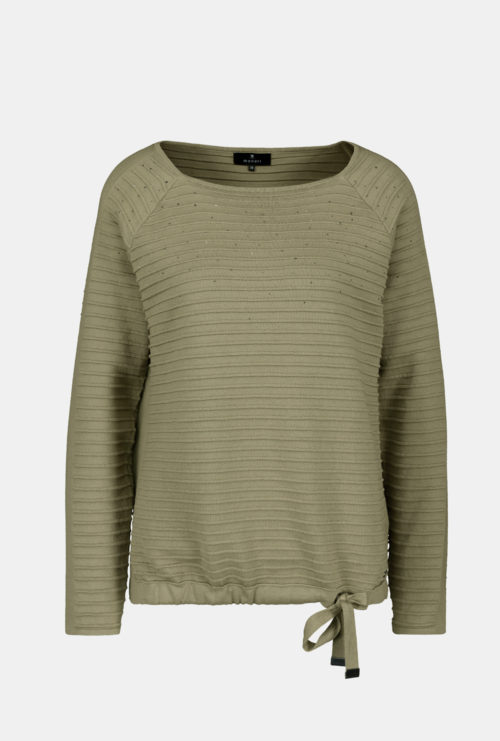 MONARI Khaki Rib Cotton Knit With Sparkle