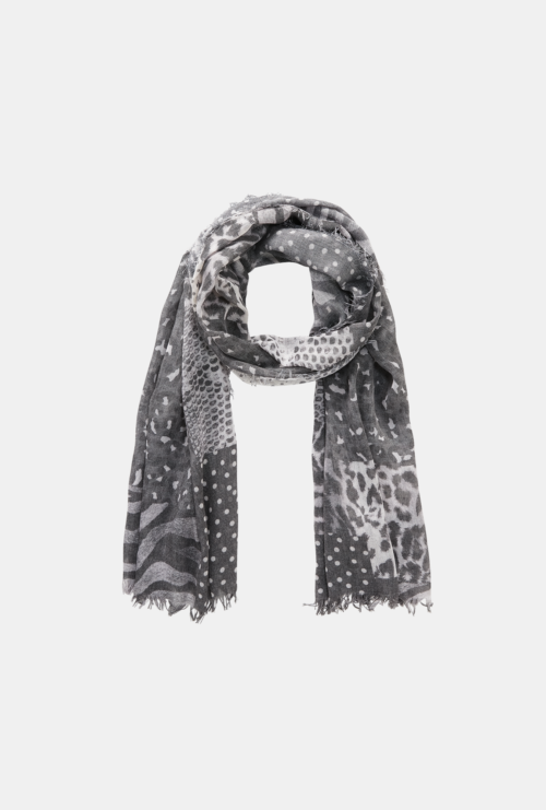 MONARI Grey Metallic Scarf