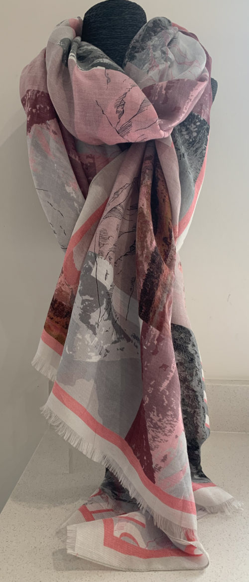 MARC CAIN Pink Alpine Print Scarf With Silk