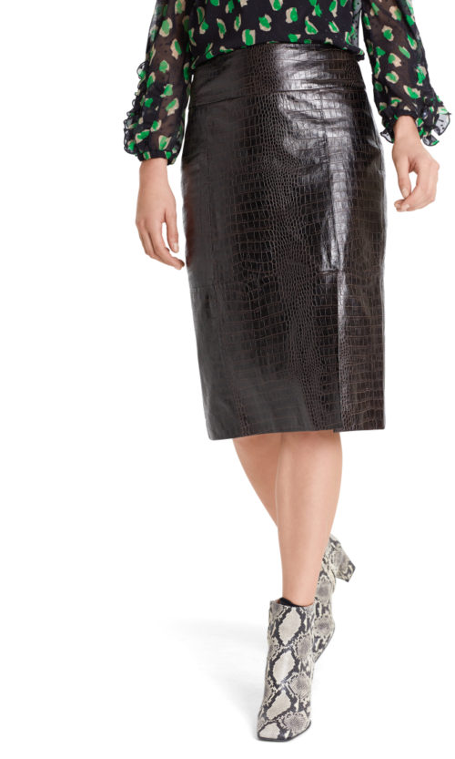 MARC CAIN Reptile Print Leather Skirt