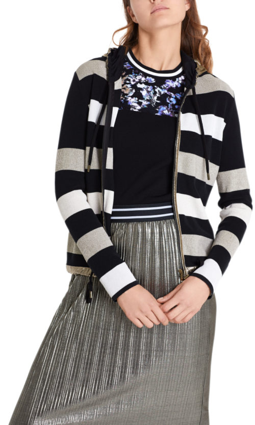 MARC CAIN Metallic Stripe Knit Jacket
