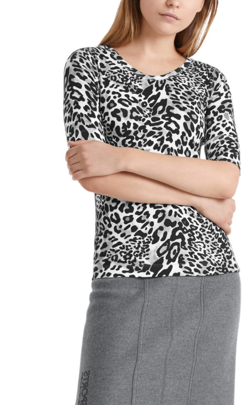 MARC CAIN Grey Leopard Print Top