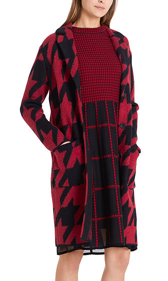 MARC CAIN Dogtooth Knit Coat