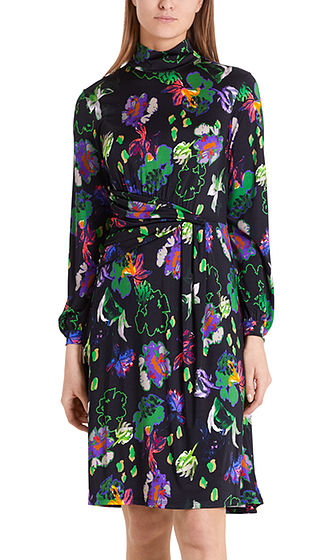 MARC CAIN Floral Print Dress With Draped Look