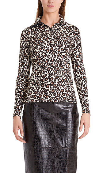 MARC CAIN Animal Print Top With Prestud Neck