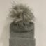 RINO & PELLE Grey Knit Hat With Faux Fur