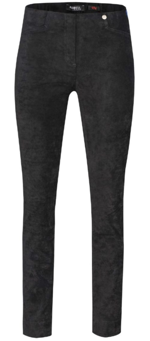ROBELL Black Faux Suede Trousers
