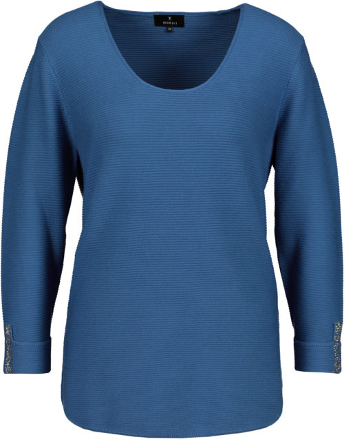 MONARI Blue Cotton Rib Knit