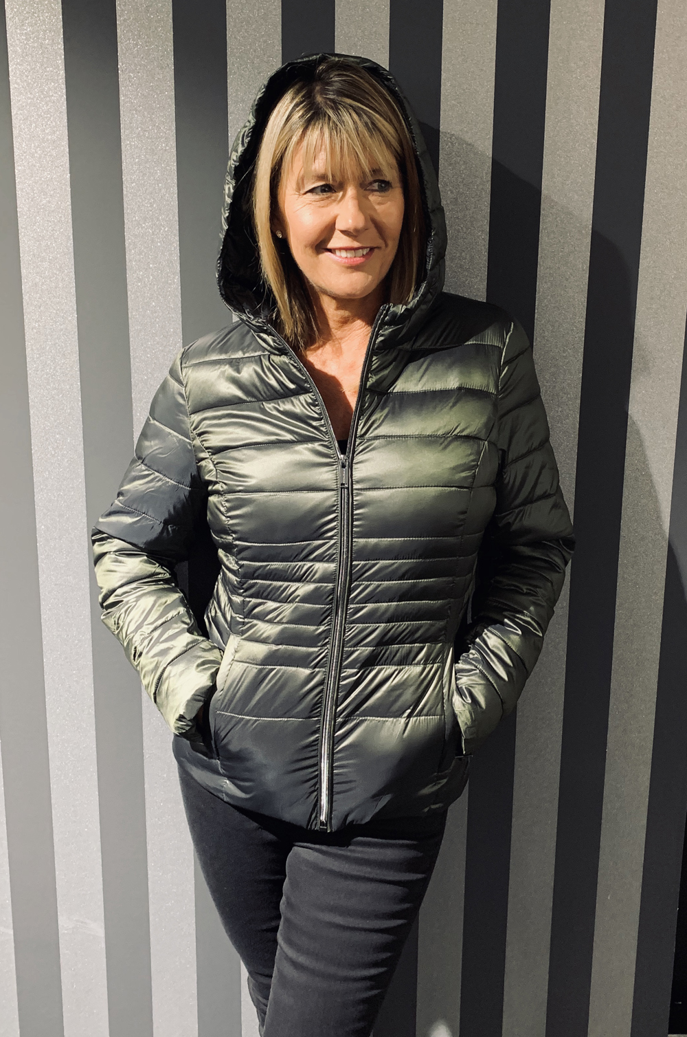 RINO & PELLE Olive Metallic Quilted Jacket