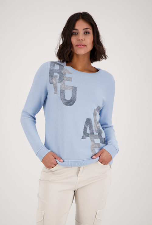 MONARI Cotton Knit With Sparkle Letters