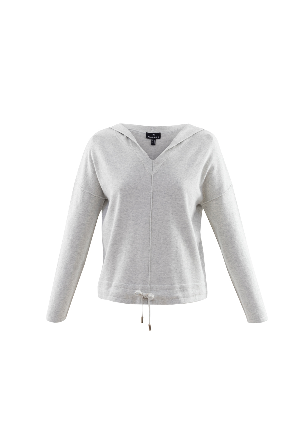 MARBLE Silver Grey Cotton Knit Hoodie