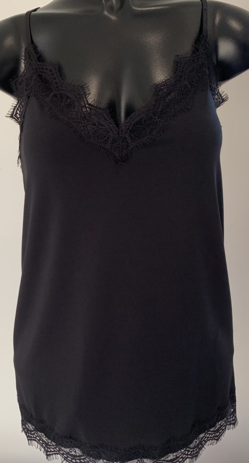 OUI Black Strappy Top With Lace