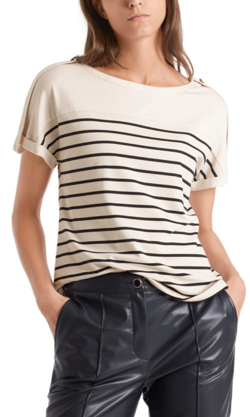 MARC CAIN Nautical Striped Jersey Top