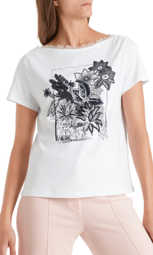 MARC CAIN Floral Cotton T-Shirt With Embroidery