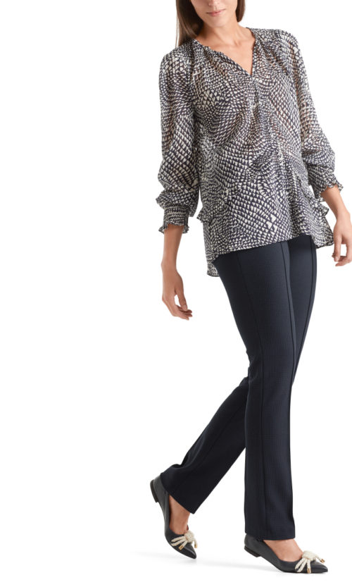 MARC CAIN Abstract Print Silky Blouse