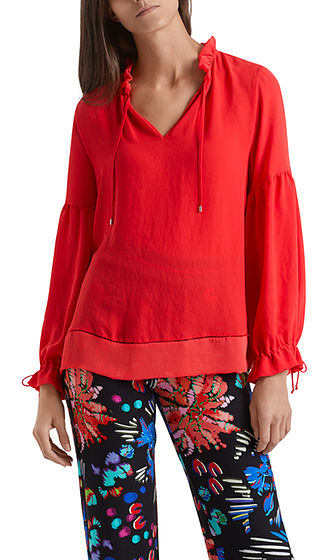 MARC CAIN Red Silky Frill Blouse