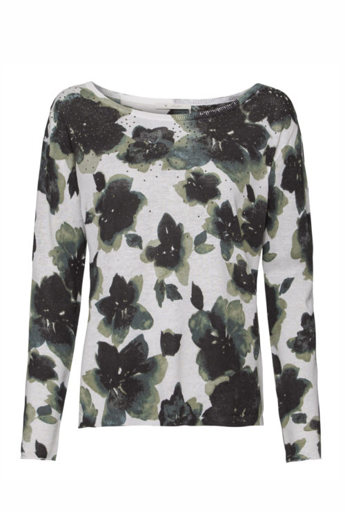 MONARI Floral Print Knit With Pewter Stones