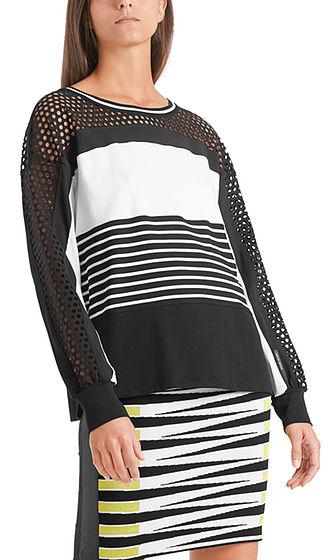 MARC CAIN Stripe Mesh Sweatshirt