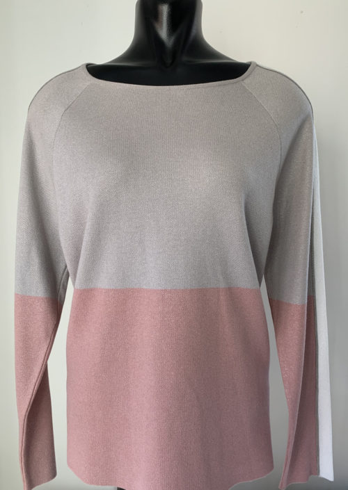 MONARI Pink & Grey Metallic Knit