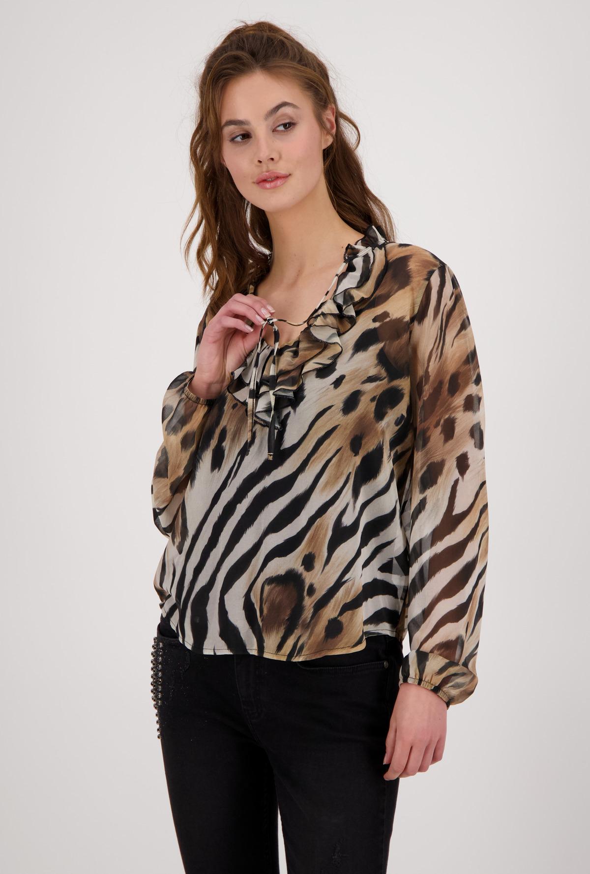 MONARI Animal Print Frill Blouse Style Top