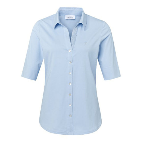 JUST WHITE Powder Blue Shirt-Style Top