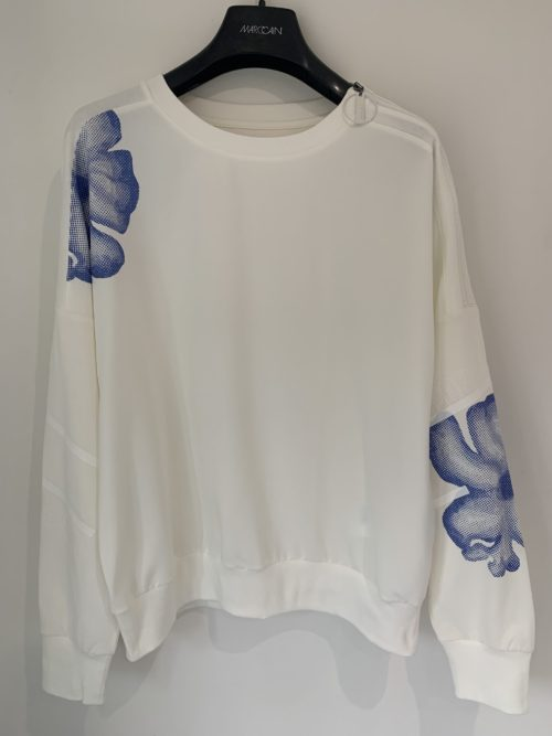 MARC CAIN Cotton Sweatshirt With Floral Print