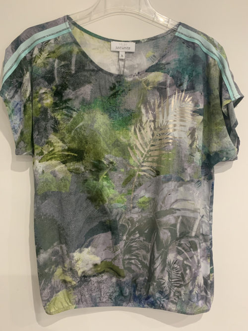 JUST WHITE Abstract Palm Print Top