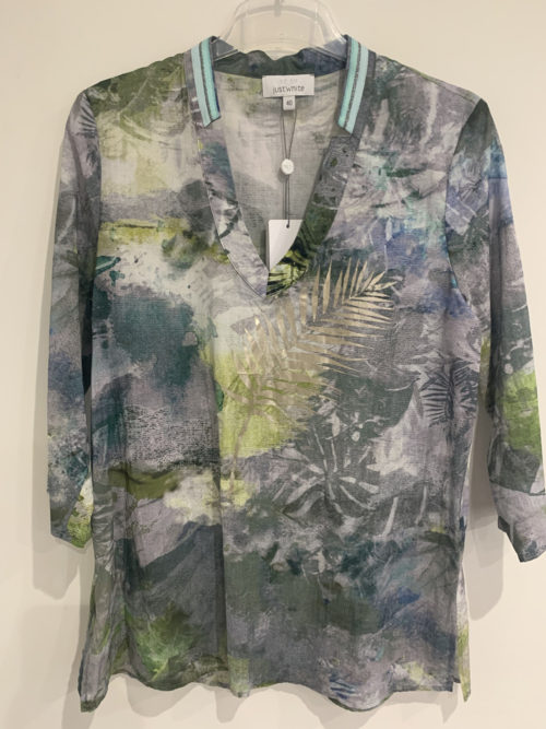 JUST WHITE Abstract Palm Print Tunic