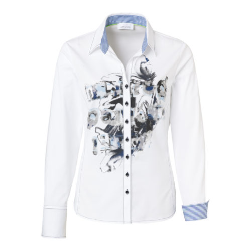 JUST WHITE Cotton Shirt With Abstract Print