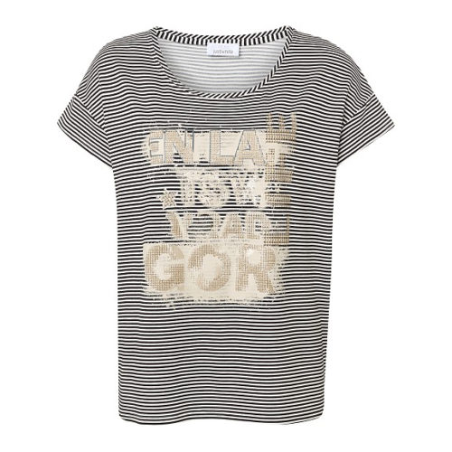 JUST WHITE Stripe T-Shirt With Gold