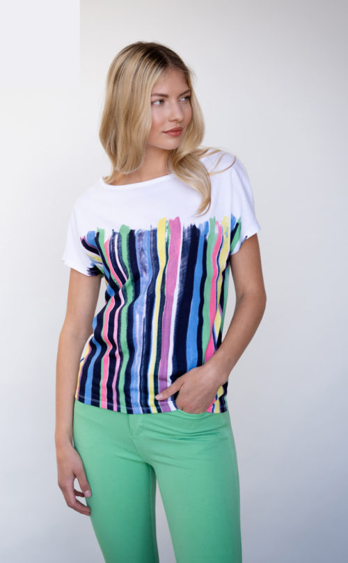 MARBLE Bright Shaded Stripe T-Shirt