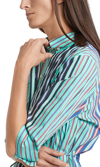 MARC CAIN Multi Stripe Shirt With Drawstring Waist