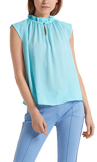 MARC CAIN Silky Top With Frill Neck