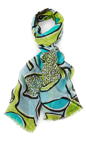 MARC CAIN Abstract Lime Print Scarf