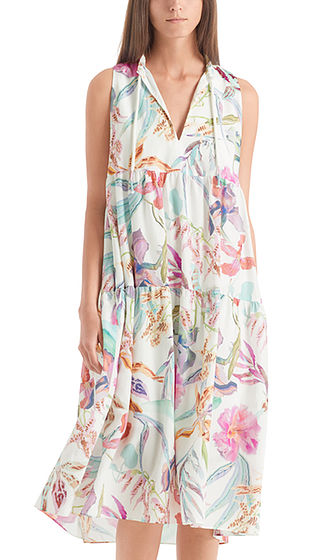MARC CAIN Orchid Print Tiered Dress