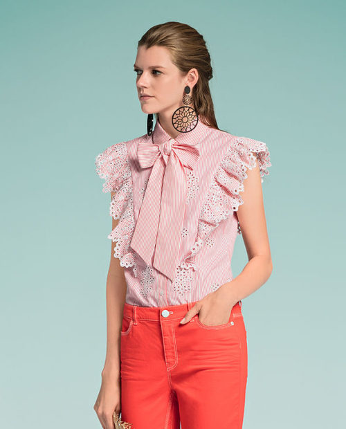 MARC CAIN Stripe Shirt With Embroidery