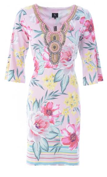 K-Design Bright Floral Dress With Bead Neckline