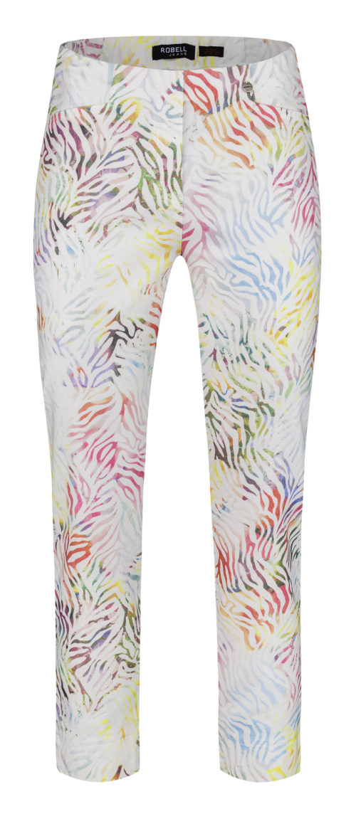 ROBELL Bright Abstract Print Crop Trousers