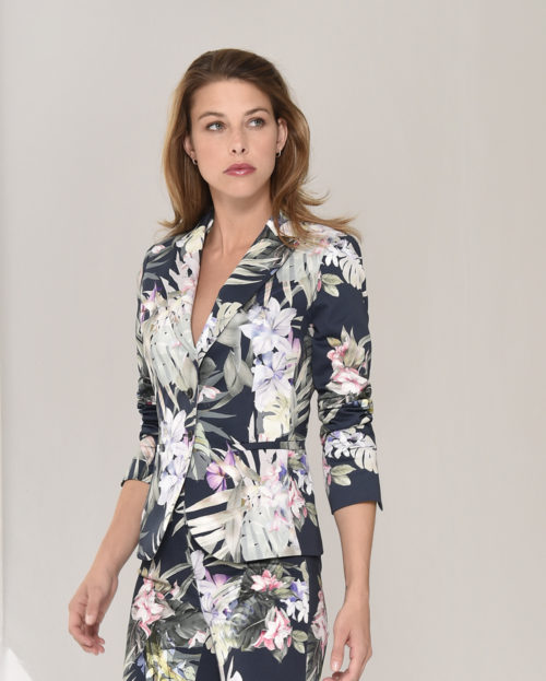 ROBELL Navy Tropical Print Blazer
