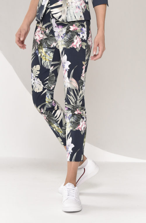 ROBELL Navy Tropical Print Crop Trousers