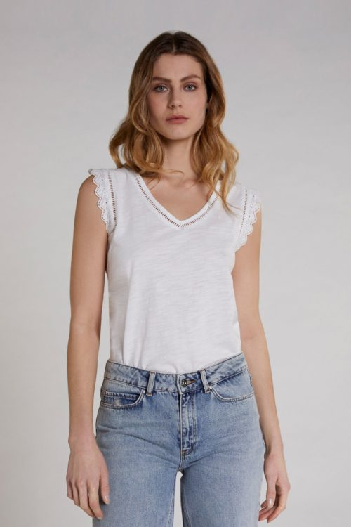 OUI Off-White Embroidered Cotton Top