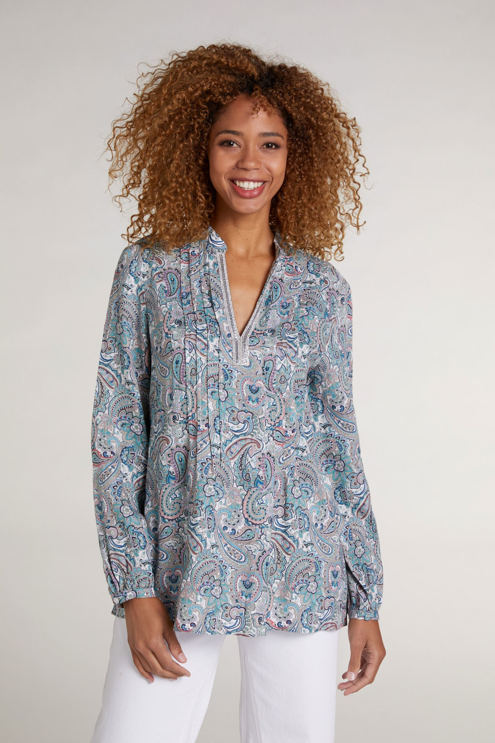 OUI Paisley Print Linen Tunic